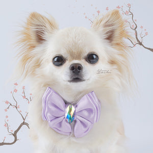 Sakura Lilac satin butterfly dog bow with large Swarovski crystal.