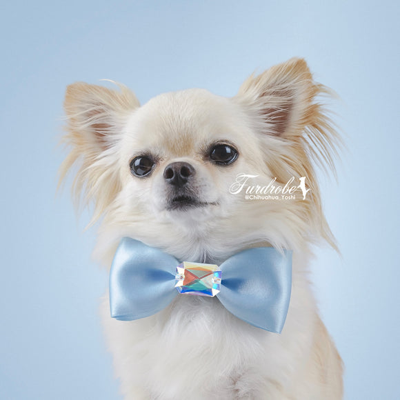 Blue Satin Dog Bow Tie with Large Swarovski Crystal
