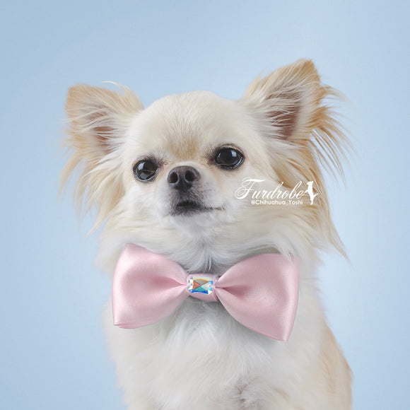Pink Satin Dog Bow Tie with Small Swarovski Crystal.