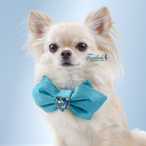 Luxury silk Heart of the Ocean valentine dog bow tie in Turquoise
