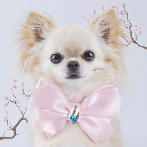 Sakura large pink satin butterfly dog bow with large Swarovski Crystal