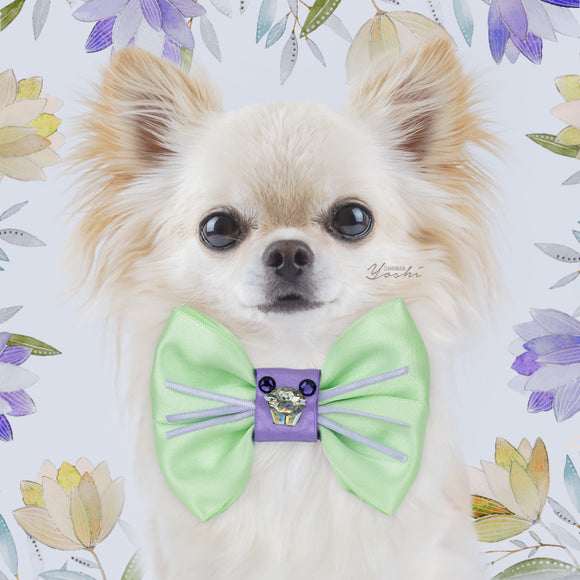 Primroses and Violets | Satin Bow Tie | Large | Crystal Rabbit Head