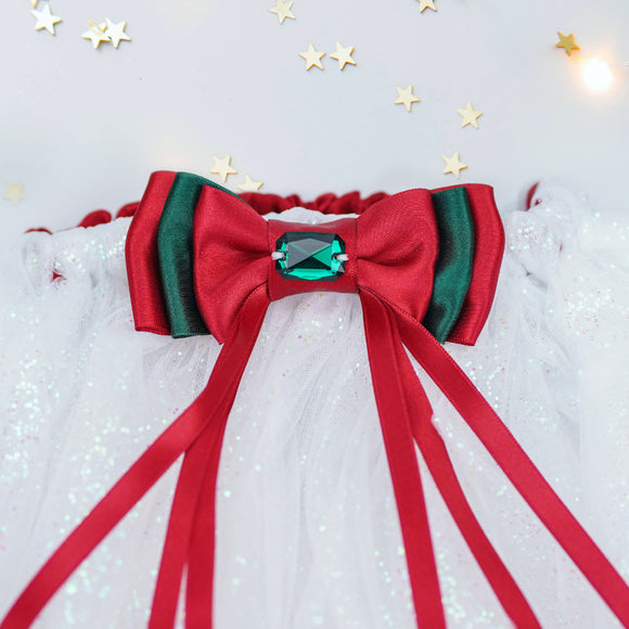Christmas tutu set in ivory/red/green