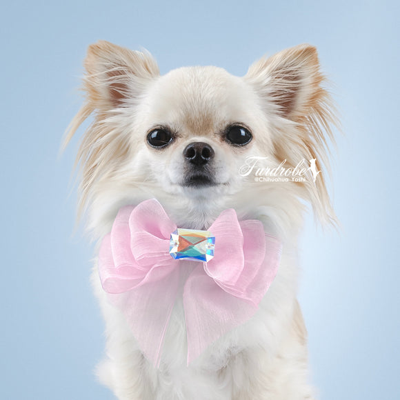 Pink Organza Dog Bow with Large Swarovski Crystal