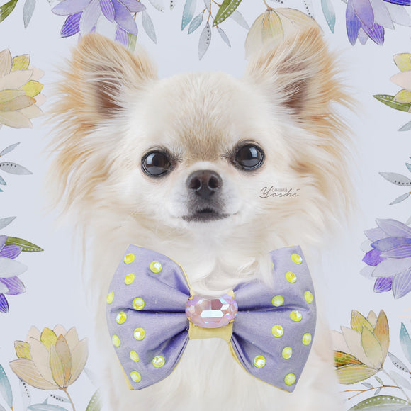 Primroses and Violets | Silk Reversible Bow Tie | Large | Fancy Cut Oval Crystal