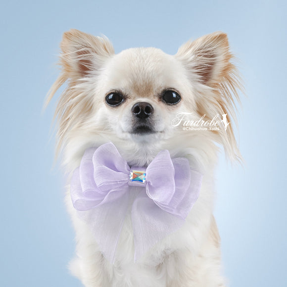 Lilac Organza Dog Bow with Small Swarovski Crystal