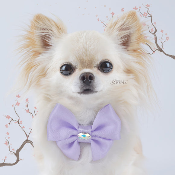 Sakura Lilac organza butterfly dog bow with small Swarovski Crystal