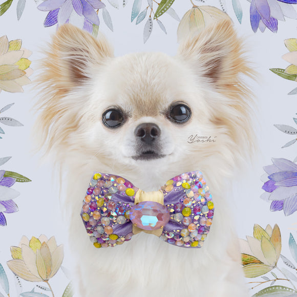 Primroses and Violets | Silk Bow Tie | Lilac/Yellow | VIP Bubble Petite | Fancy Cut Oval Crystal