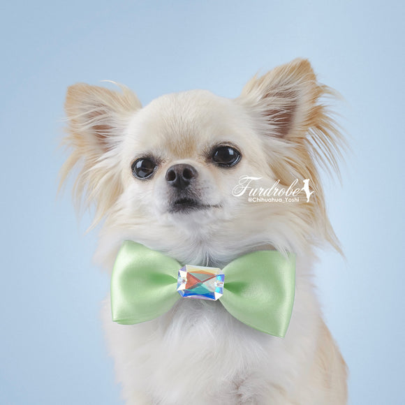 Green Satin Dog Bow Tie with Large Swarovski Crystal