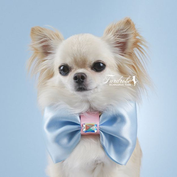 Satin Blue Large Dog Bow Tie with Pink Centre