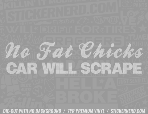 No Fat Chicks Car Will Scrape Sticker