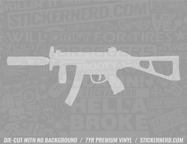 Machine Gun Sticker - Window Decal - STICKERNERD.COM