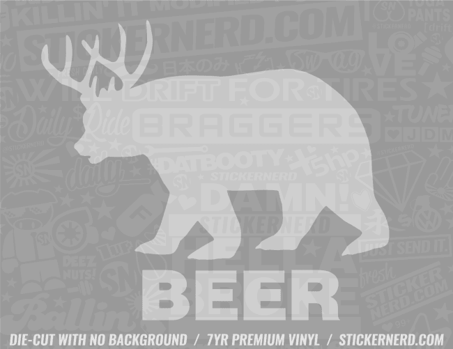 Beer Bear Sticker - Window Decal - STICKERNERD.COM