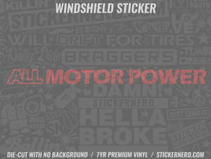 All Motor Power Windshield Sticker