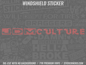 JDM Culture Windshield Sticker - Window Decal - STICKERNERD.COM