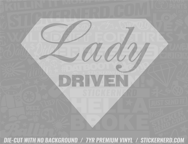 Lady Driven Diamond Sticker - Window Decal - STICKERNERD.COM
