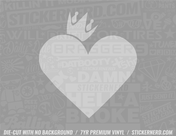 Heart Crown Sticker - Window Decal - STICKERNERD.COM
