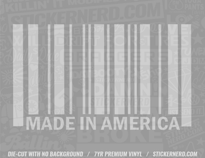Made In America Bar Code Sticker - Window Decal - STICKERNERD.COM