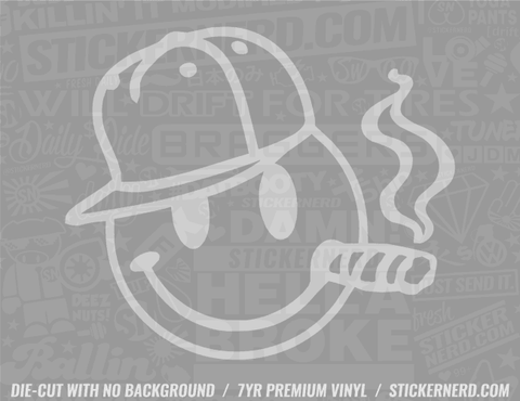 Smiley Smoking Sticker - Window Decal - STICKERNERD.COM