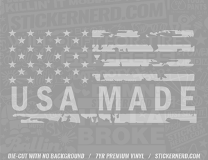 USA Made American Flag Sticker - Window Decal - STICKERNERD.COM
