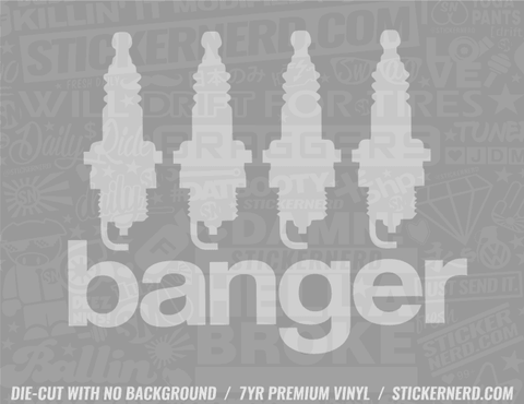 Four Banger Spark Plug Sticker - Window Decal - STICKERNERD.COM