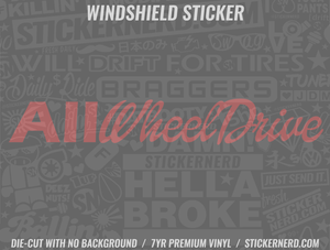 All Wheel Drive Windshield Sticker - Window Decal - STICKERNERD.COM