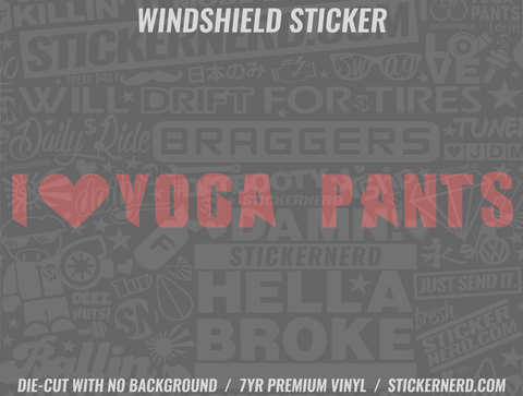 I Heart Yoga Pants Windshield Sticker