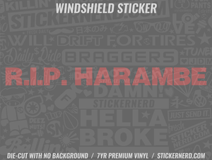 Rip Harambe Windshield Sticker