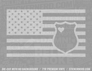 America Flag Police Badge Sticker - Window Decal - STICKERNERD.COM