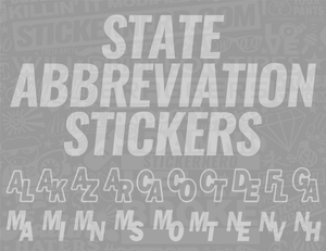State Abbreviation Stickers - Window Decal - STICKERNERD.COM