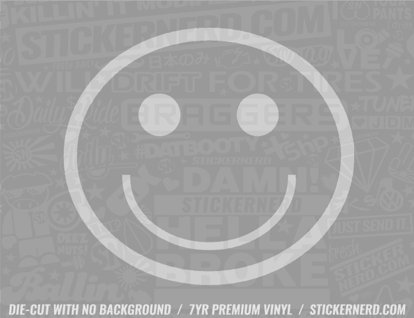 Happy Smiley Sticker - Window Decal - STICKERNERD.COM