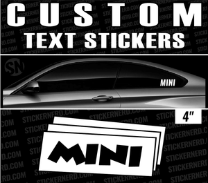 "4"" Custom Text Mini Stickers - Window Decal - STICKERNERD.COM"