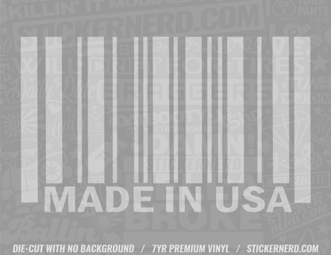 Made In USA Bar Code Sticker - Window Decal - STICKERNERD.COM