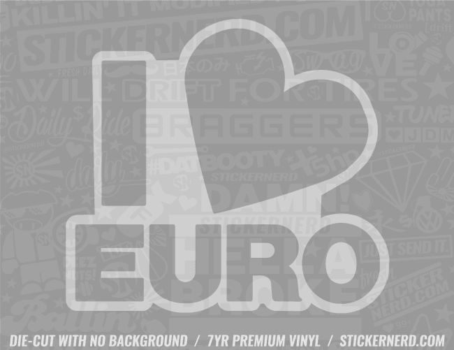 I Heart Euro Sticker - Window Decal - STICKERNERD.COM
