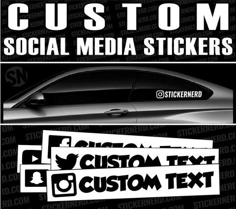 Custom Social Media Stickers - Window Decal - STICKERNERD.COM