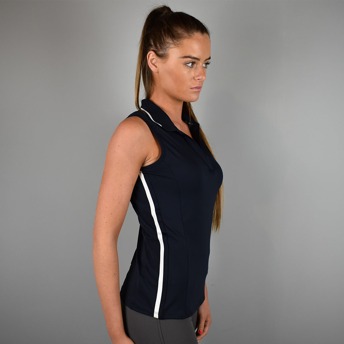 HV Polo Janice Sleeveless Polo in Navy