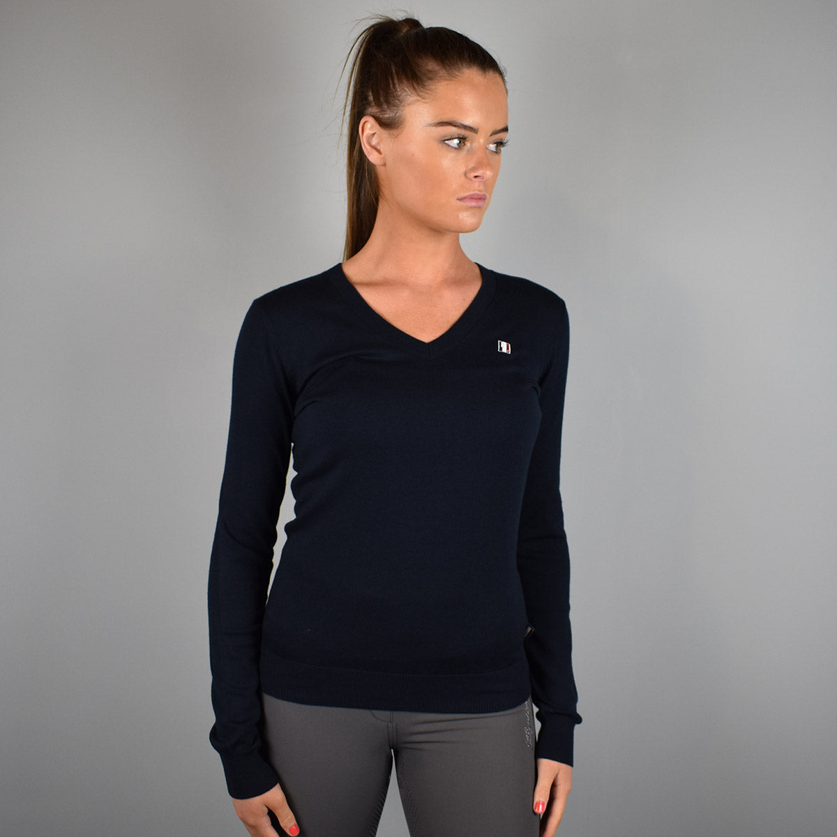 Kingsland Classic Ladies V-Neck Sweater in Navy