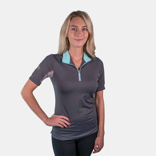 Kastel Denmark Charlotte Collection Short Sleeve Top in Asphalt and Turquoise