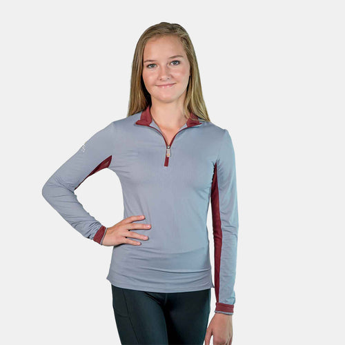 Kastel Denmark Long Sleeve Top in Grey and Burgundy