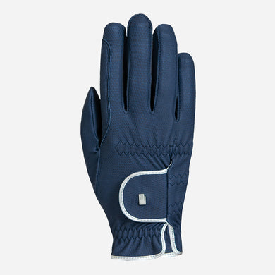 Roeckl Lona Riding Glove in Navy and Silver