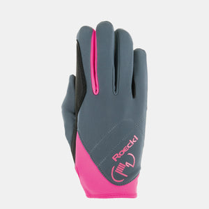 Roeckl Trudy Winter Riding Gloves in Grey and Pink