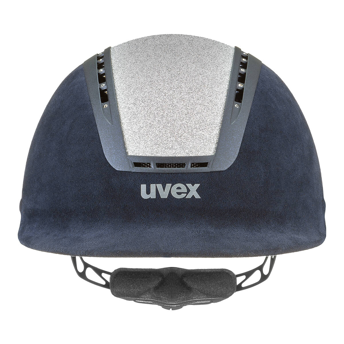 Uvex Suxxeed Glamour Riding Hat in Blue & Silver - Front