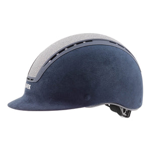Uvex Suxxeed Glamour Riding Hat in Blue & Silver - Side