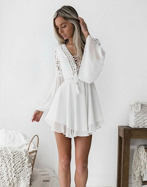 MICHONE — White/Black Bohemia Mini-Dress