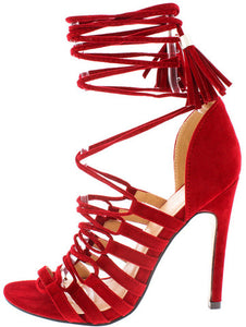 NEW TESSA RED LACE UP HEELS