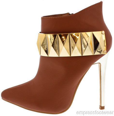 WOMEN CAMEL STUD GOLD PLATE POINTED ANKLE BOOTIE