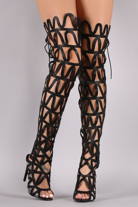 NERISSA BLACK GLADIATOR CUT OUT BOOTS