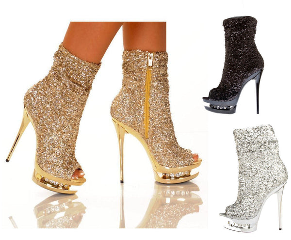 NEW DIAMANTE OPEN TOE GOLD SEQUIN BOOTIE