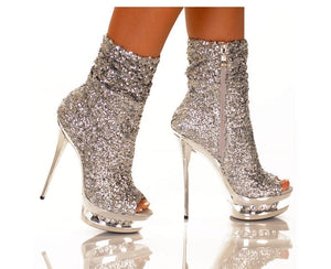 NEW DIAMANTE OPEN TOE SILVER SEQUIN BOOTIE