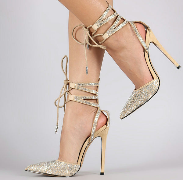 NEW JOY RHINESTONE ANKLE CUFF HEELS